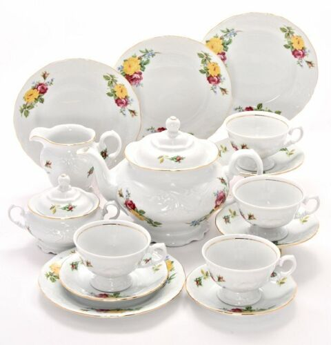 Tea With Grace Rose Bouquet Fine China Tea Set for Four
