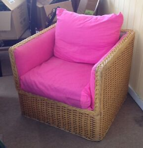 Vintage Wicker Chair with down filled back cushion