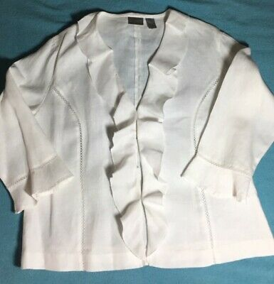 Chico's Linen Jacket 3/4 sleeve White Size 2 Hook & Eye Closure EUC