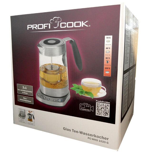 Profi Cook PC-WKS 1020 G Teebereiter und Wasserkocher  Edelstahl / Glas 3000W