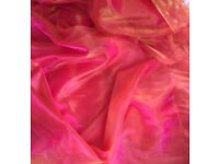 Wedding / marquee Pink shot gold two tone organza - double width at 2.4M / 94.5 inches** reduced**