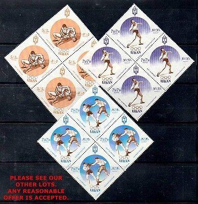 LEBANON 1961 OLYMPIC GAMES ROME SC#B13-15 blocks of 4 MNH  WRESTLING, BOXING