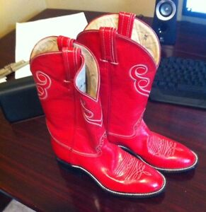NEW Ladies Hondo Cowboy Boots Red Leather 5C