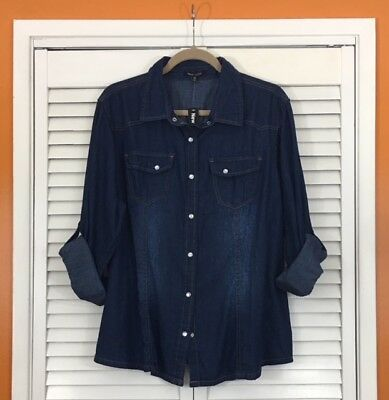 XL/1X/2X/3X Dark Blue Denim Cotton Shirt Top Blouse Pearl Snap Western Cowboy