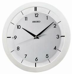 SEIKO WALL WHITE METALLIC-LIKE CASE CLOCK 11 DIAM- QUIET SWEEP QXA520WLH