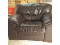 Chocolate Brown Leather Sofa Arm Chair - super comfy!