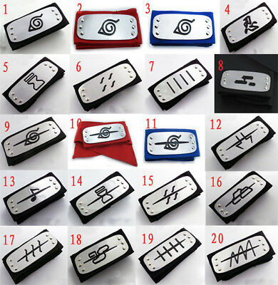 12 PC Random New Naruto Kakashi Sasuke Hallowee Ninja Headband Cosplay Halloween