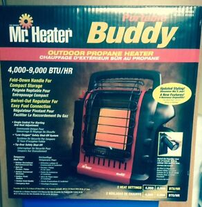 "Brand New Mr. Heater 'Buddy"" with extras"