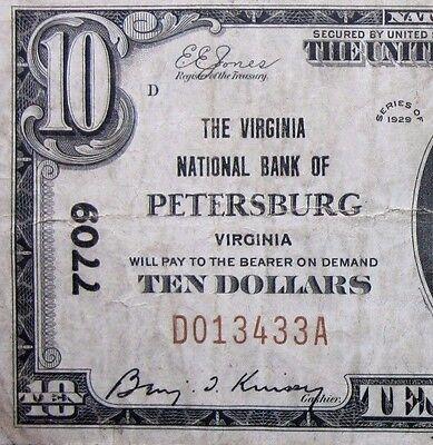 1929  10 National Bank Note   Virginia Ntl Bank Petersburg   Pa 7709  Trusted