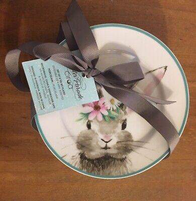 New CIROA Easter Parade Easter Bunny Appetizer Salad Dessert Plates Blue Rim