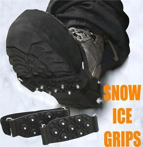 2 X UNISEX OVER THE SHOE SNOW AND ICE GRIPS SPIKES SNOW CLEATS GRIPPERS CRAMPONS