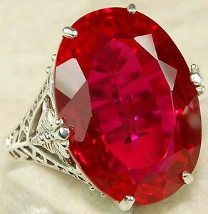 12ct-Ruby-925-Solid-Sterling-Silver-Victorian-Style-Filigree-Ring-Sz-6-5