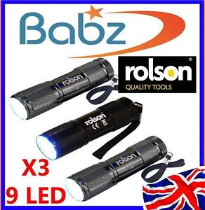 ROLSON TOOLS PACK OF 3 X 9 LED TORCHES CAMPING LIGHT + BATTERIES + STRAP