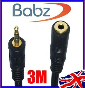 3M Meter 3.5mm JACK AUX PLUG SOCKET HEADPHONE EXTENSION CABLE LEAD