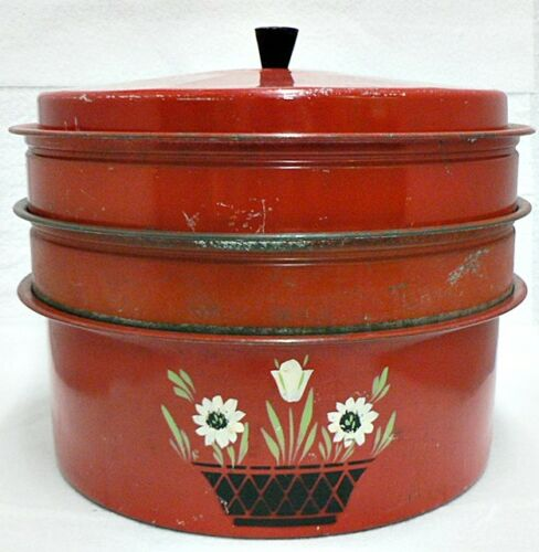 VINTAGE RED TIN TRIPLE DECKER CAKE OR PIE CARRIER