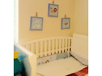 Cot mattress never used with lots of made baby beddings