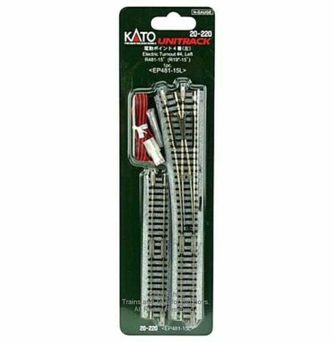 Kato N Scale UniTrack #4 Left Hand Electric Turnout Switch 481mm  (1 Pc) 20-220