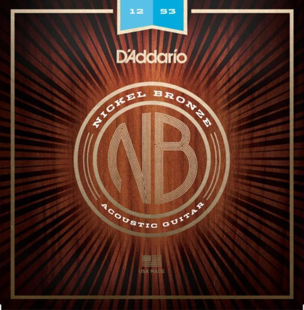 D'Addario NB1253 Nickel Bronze Acoustic Guitar Strings, Ligh