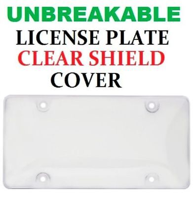 UNBREAKABLE CLEAR BUBBLE LICENSE PLATE TAG HOLDER FRAME BUMPER SHIELD COVER NEW