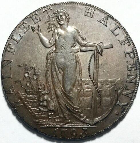 GREAT BRITAIN Lincolnshire CONDER Halfpenny Token 1793 Wainfleet - UNCIRCULATED!