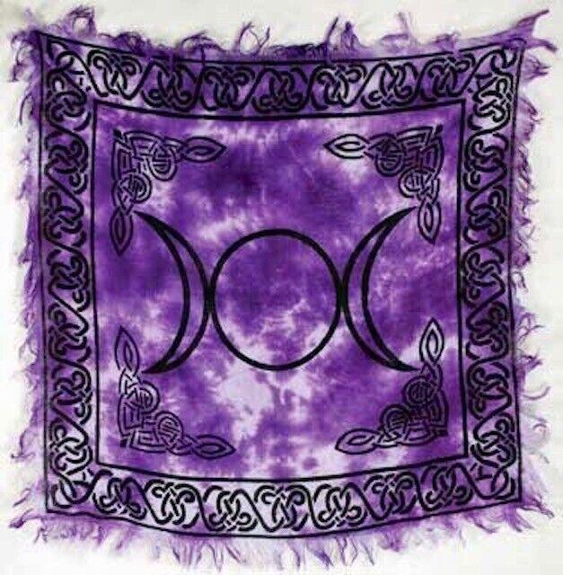 "Purple Tie Dyed Triple Moon Goddess Altar Tarot Cloth 18"" X 18"" Wicca Pagan"