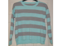 TU CLOTHING - WOMANS KNITTING PATTERN COLOURFUL STRIPED SWEATER SIZE 10