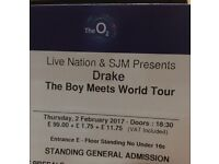 Drake 2 x standing tickets face value London O2 Thursday 2nd Feb £112.50
