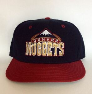 Vintage Denver Nuggets Fitted Hat by New Era Rare NBA 90s Blue