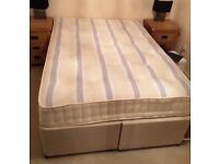 Standard Double Divan (mattress and base with one drawer), very good condition, Mill Hill pickup