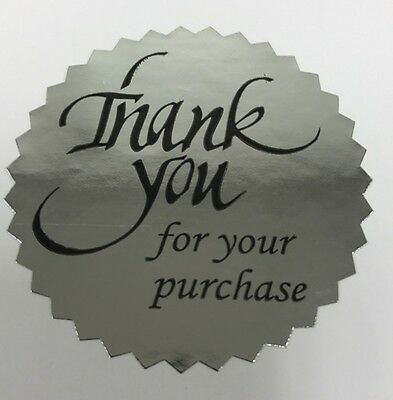 100 Thank You For Your Purchase 2 Sticker Starburst Silver Foil New Thank You