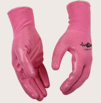 New Womens Size Large Pink Nitrile Coated Chore Garden Work Gloves