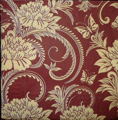 4 x Single Paper Napkins  Flowers Pattern for Decoupage and Crafting  4xx