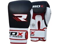 Leather Boxing Gloves 14oz - barely used, RDX Red/Black Muay Thai/Boxing gloves