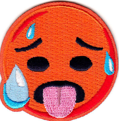 On Emoji ( EMOJI HOT FACE Iron On Embroidered Patch)