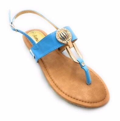 Victoria K. Womens-ladies t- strap gold medallion Sandals 4 colors comfortable  ()