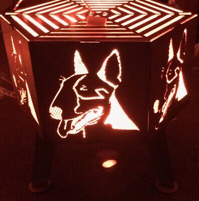 English bull terrier  hexagonal fire pit with grill