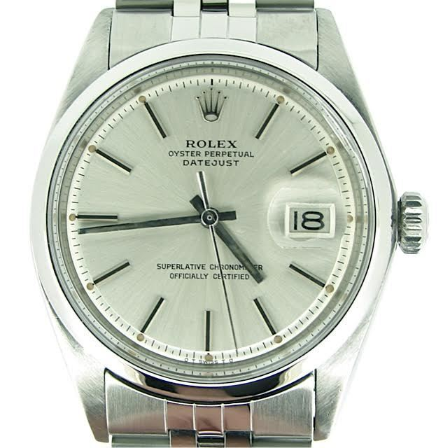 Rolex Datejust Mens Stainless Steel Watch With Domed Bezel And Silver Dial