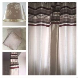 Matching cushions, curtains and lamp shade