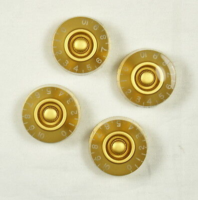 4x LP Guitar Speed Knobs Amber Gold 18-spline pots