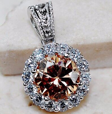 4CT Padparadscha Sapphire & Topaz 925 Solid Sterling Silver Pendant jewelry