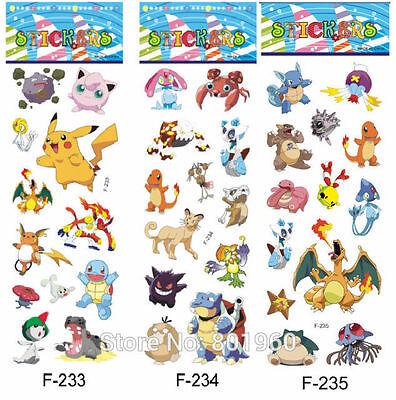 5  x POKEMON  Sticker strips - Party Bag Fillers Birthday party favours, games  (Pokemon Party Games)