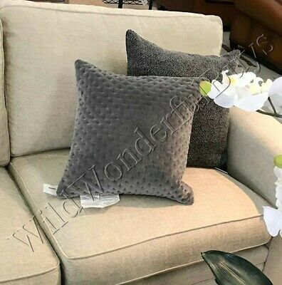 Pottery Barn Cross Stitch Pillow Cover Gray 18 sq Velvet Accent Throw Flagstone ()
