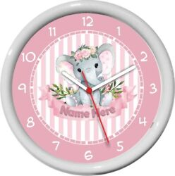 Personalized Pretty Pink Elephant Wall Clock Child's/Nursery Room