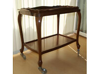 Tea / hostess trolley, wheels, separate tray, solid, durable tropical hardwood