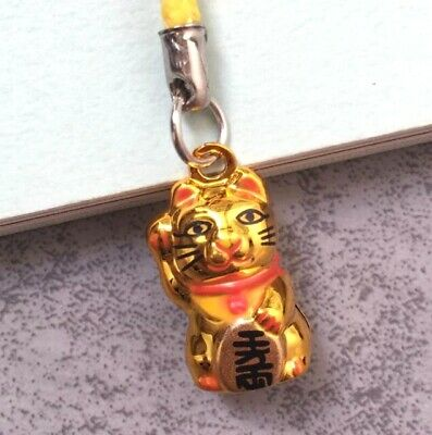 Fortune Lucky Beckoning Cat Maneki Neko Keyring Keychain Key Ring Chain Gift G