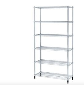 IKEA OMAR Metal Silver Kitchen Pantry Storage 1 Shelf Section 92x36x181 cm