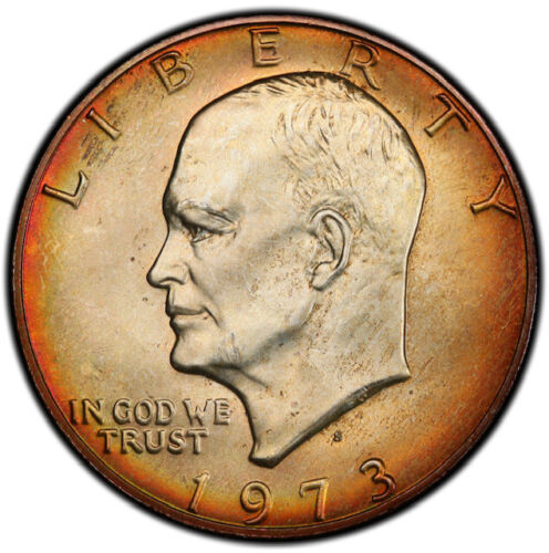 MS65 1973-S $1 Silver Eisenhower Dollar, PCGS Secure- Rainbow Mint Box Toned