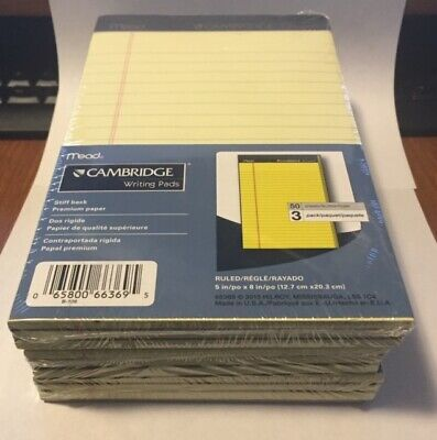 9 Yellow Lined Pads 5 X 8 Inch Perforated Premium Paper Mead Cambridge Free Ship