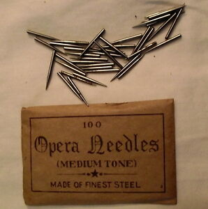 Antique Phonograph Needles. 100 needle packages Medium tone