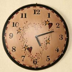 FARMHOUSE COUNTRY HEART STAR VINE WALL CLOCK